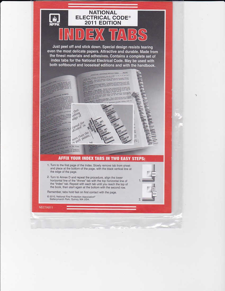 Pre-Printed Tabs for the NFPA 70 National Electric Code (Binder) – 2011